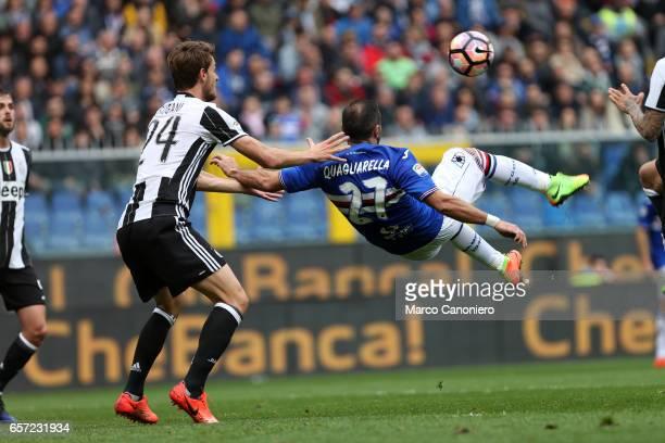 Fabio Quagliarella of US Sampdoria and Daniele Rugani of Juventus FC in action during the Serie A football match between UC Sampdoria and Juventus FC...