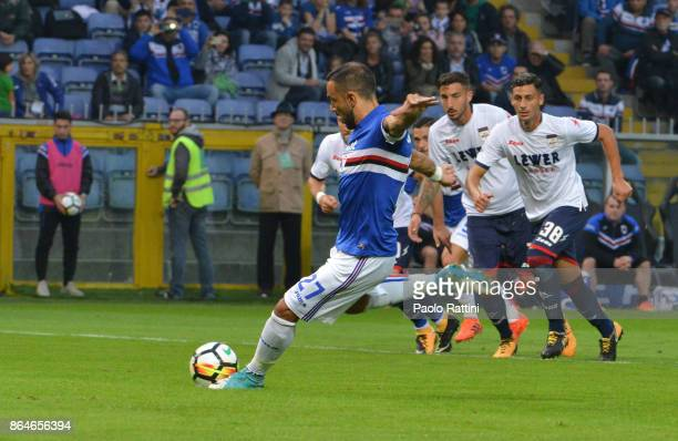 Fabio Quagliarella penalty 20 during the Serie A match between UC Sampdoria and FC Crotone at Stadio Luigi Ferraris on October 21 2017 in Genoa Italy
