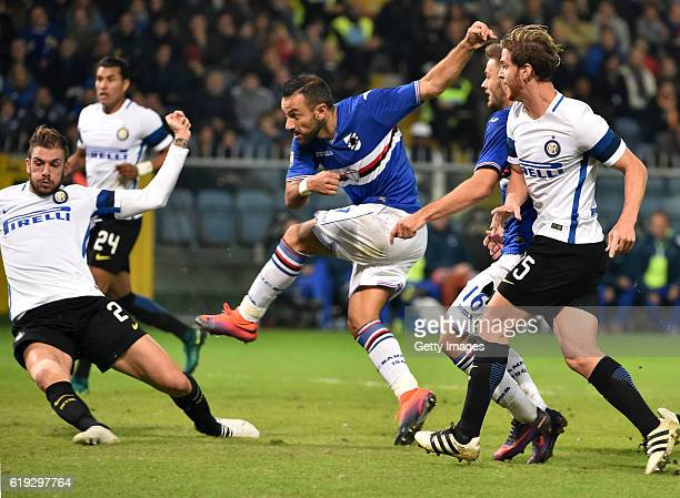 Fabio Quagliarella scored 10 during the Serie A match between UC Sampdoria and FC Internazionale at Stadio Luigi Ferraris on October 30 2016 in Genoa...