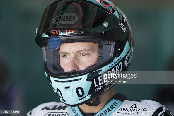 Fabio Quartararo of France and Leopard Racing looks on in box during the qualifying practice during the MotoGP of Spain Qualifying at Motorland...