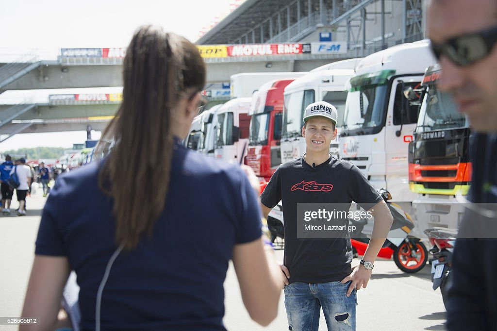 Fabio Quartararo of France and Leopard Racing speaks with journalist in paddock during the MotoGp of France - Press Conference on May 5, 2016 in Le Mans, France.