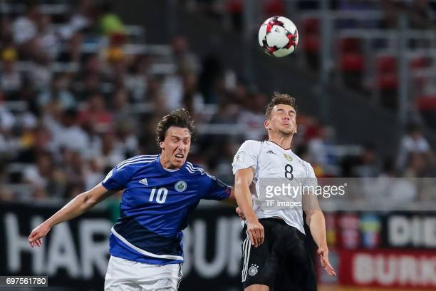 Fabio Ramon Tomassini of San Marino and Leon Goretzka of Germany battle for the ball during the FIFA 2018 World Cup Qualifier between Germany and San...