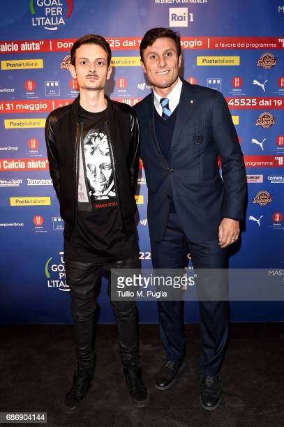 Fabio Rovazzi and Javier Zanetti attend 'Un Goal per l'Italia' Event on May 22 2017 in Norcia Italy