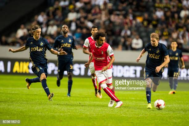 Fabio Santos Martins of SC Braga plays the ball forward during a UEFA Europa League qualification match between AIK and SC Braga at Friends arena on...