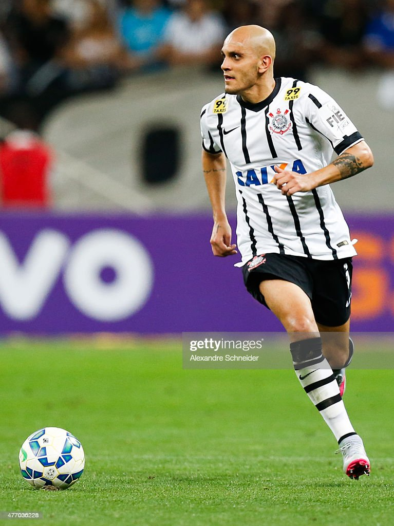 Fabio Santos of Corinthians in action during the match between Corinthians and Internacional for the Brazilian Series A 2015 at Arena Corinthians stadium on June 13, 2015 in Sao Paulo, Brazil.