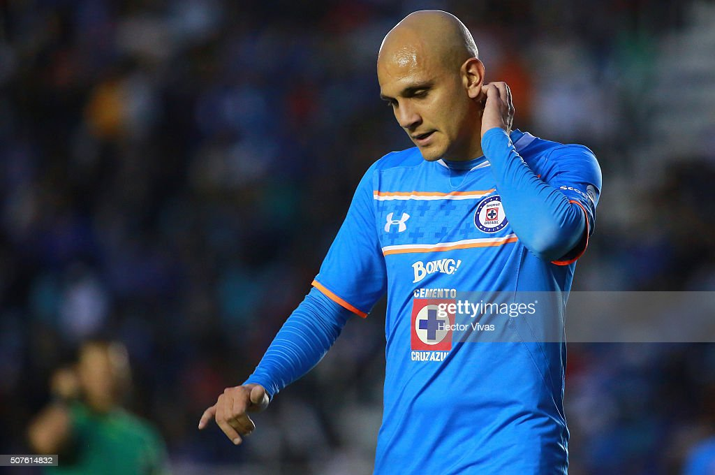 Fabio Santos of Cruz Azul reacts during the fourth round match between Cruz Azul and Chiapas as part of the Clausura 2016 Liga MX at Azul Stadium on January 30, 2016 in Mexico City, Mexico.