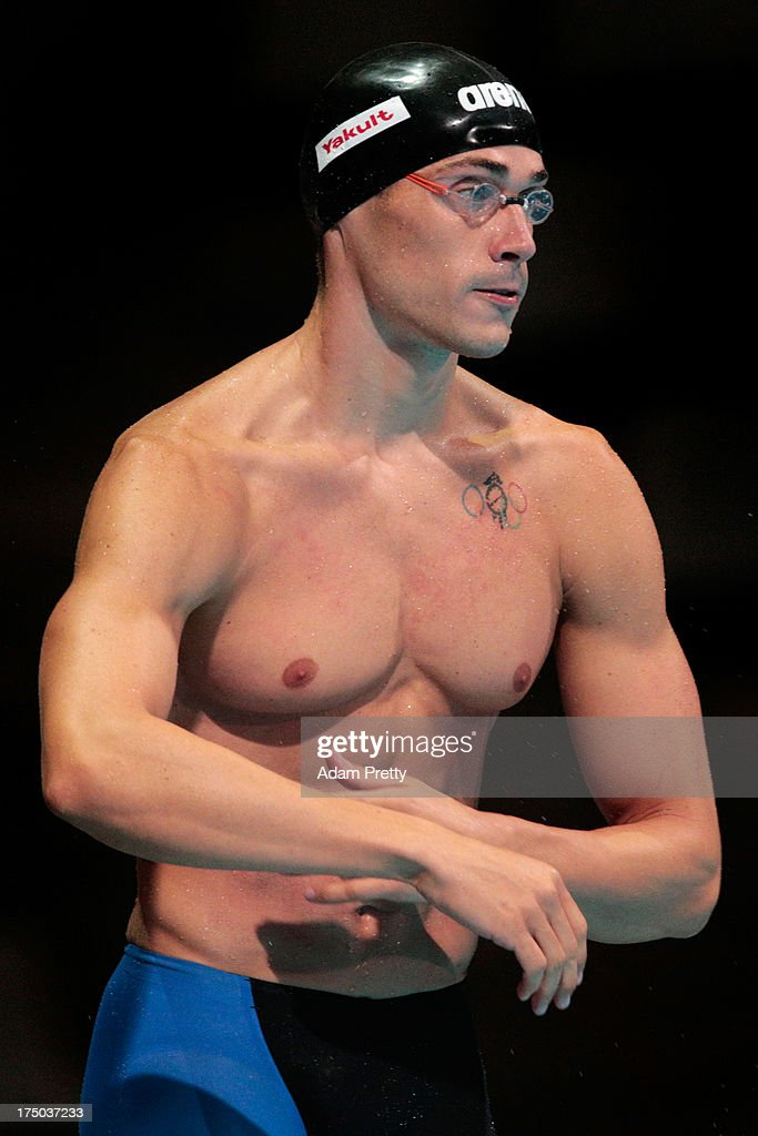 <a gi-track='captionPersonalityLinkClicked' href=/galleries/search?phrase=Fabio+Scozzoli&family=editorial&specificpeople=5966456 ng-click='$event.stopPropagation()'>Fabio Scozzoli</a> of Italy competes during the Swimming Men's 50m Breaststroke preliminaries heat seven on day eleven of the 15th FINA World Championships at Palau Sant Jordi on July 30, 2013 in Barcelona, Spain.