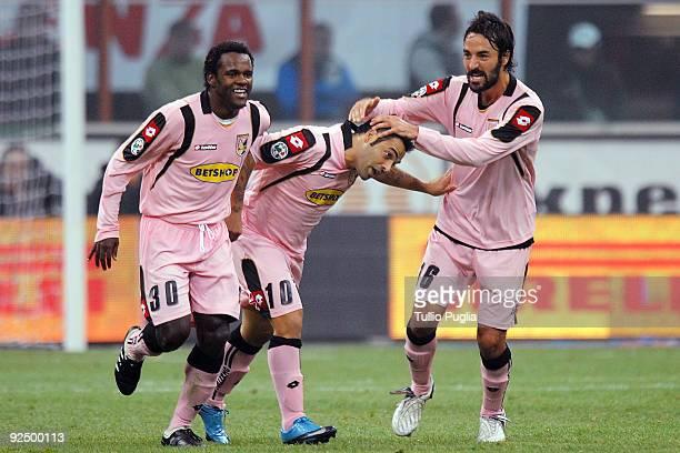 Fabio Simplicio Fabrizio Miccoli and Mattia Cassani of Palermo celebrate Miccoli's second goal during the Serie A match between FC Internazionale...
