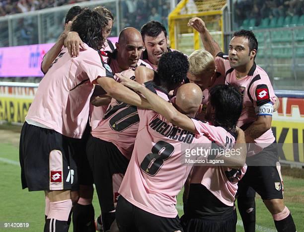 Fabio Simplicio of US Citta' di Palermo celebrates a goal during the Seria A match played between Us Citta' di Palermo and Juventus FC at Stadio...