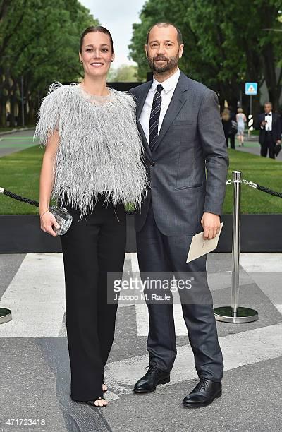 Fabio Volo and Johanna Maggy Hauksdottir attends the Giorgio Armani 40th Anniversary Silos Opening And Cocktail Reception on April 30 2015 in Milan...
