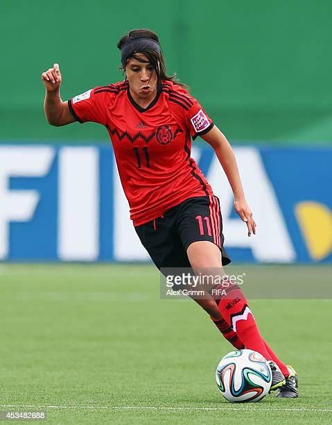 Fabiola Ibarra of Mexico controles the ball during the FIFA U20 Women's World Cup Canada 2014 group C match between England and Mexico at Moncton...