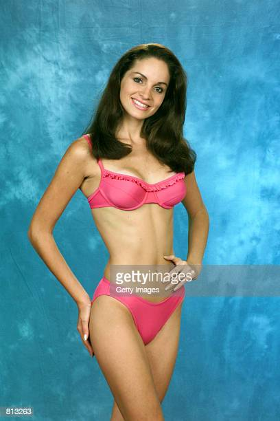 Fabiola Lazo MISS PERU 1999 gives us a Sneak Peek of the Oscar de la Renta ''fun'' swimsuit the Official Swimwear Sponsor of the 1999 MISS UNIVERSE...