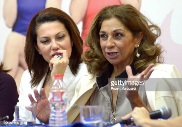 Fabiola Toledo and Lolita Flores attend a press presentation for their latest theater work 'Mas Sofocos' at the Teatre Condal on October 21 2013 in...