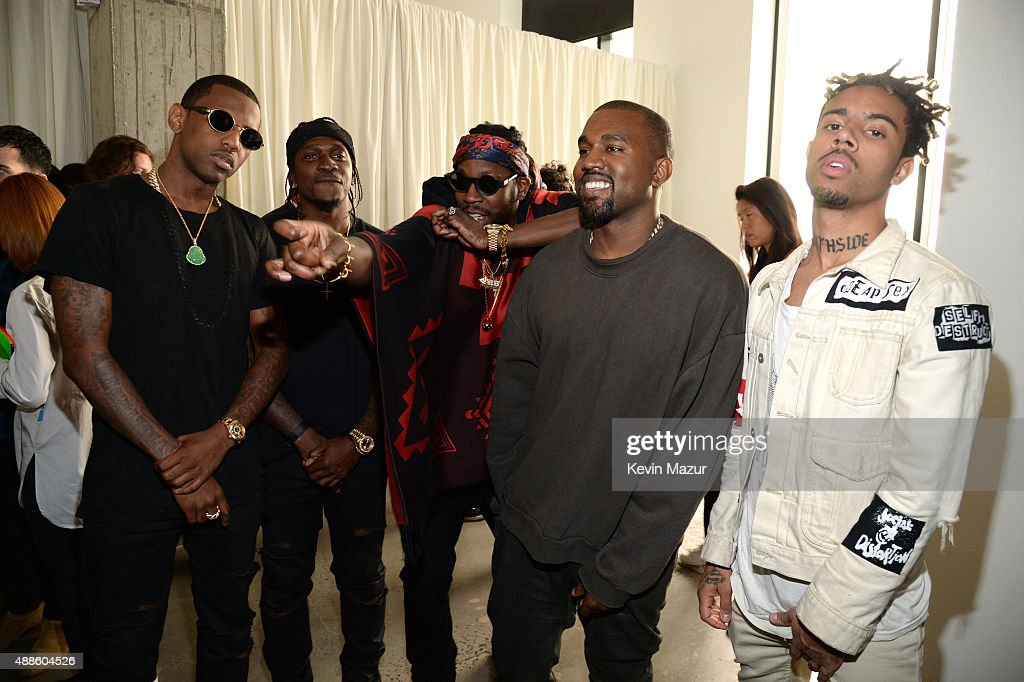 Fabolous, 2 Chainz, Kanye West and Vic Mensa attend Kanye West Yeezy Season 2 during New York Fashion Week at Skylight Modern on September 16, 2015 in New York City.