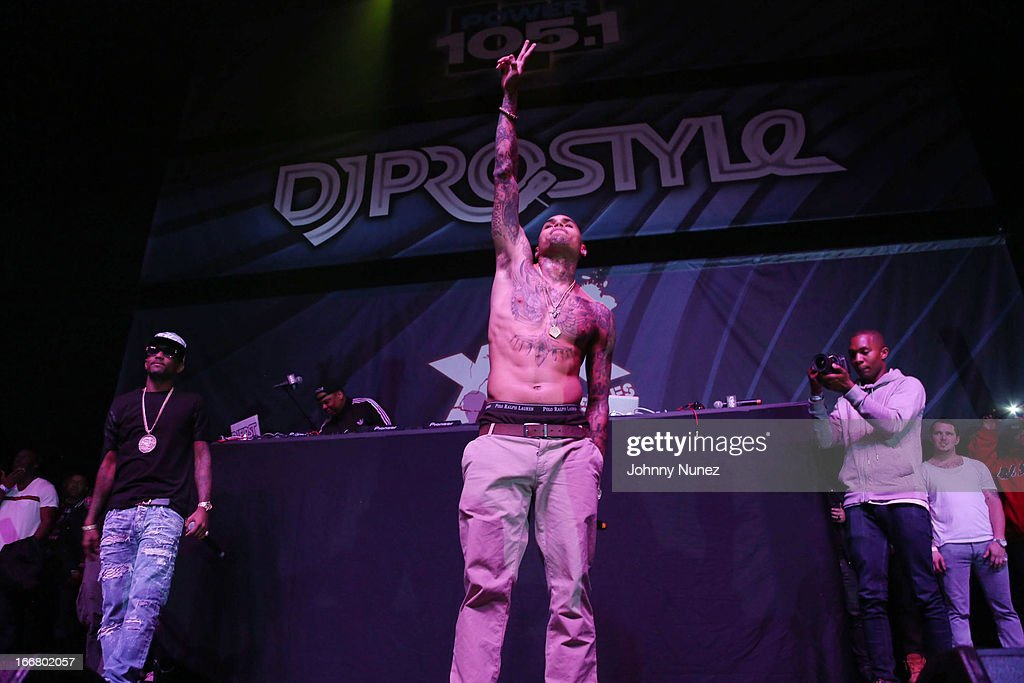 Fabolous and Chris Brown perform at the 2nd Annual DJ Prostyle's Birthday Bash at Hammerstein Ballroom on April 16, 2013 in New York City.