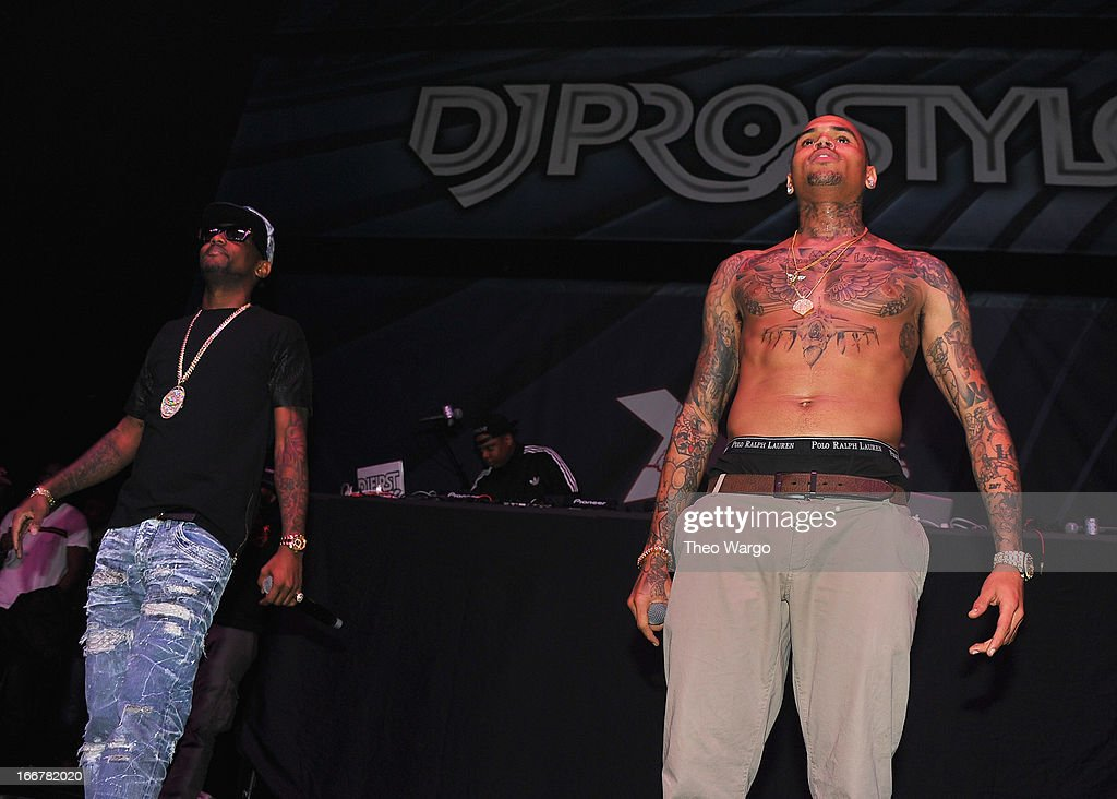 Fabolous and Chris Brown perform during DJ ProStyle's birthday bash at Hammerstein Ballroom on April 16, 2013 in New York City.