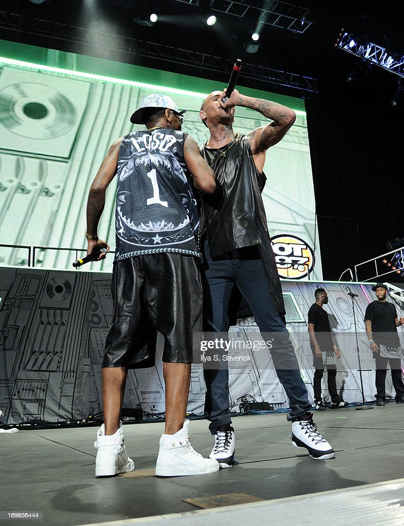 Fabolous and Chris Brown perform during HOT 97 Summer Jam XX at MetLife Stadium on June 2, 2013 in East Rutherford, New Jersey.