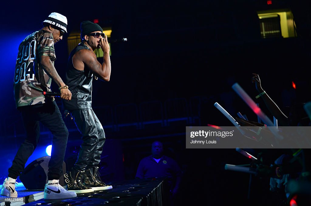 Fabolous and Red Cafe perform during the 2014 UM Homecoming Concert at Bank United Center on October 30 2014 in Miami Florida