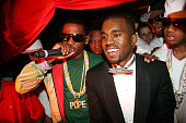 Fabolous Kanye West and Red Cafe during Mark Birnbaum Eugene Remm and Kanye West Celebrate Their Birthdays Hosted by Fonzworth Bentley Live...