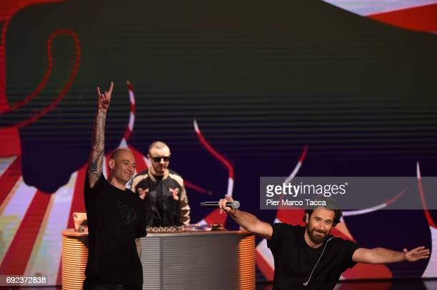 Fabri Fibra and Tommaso Paradiso perform on stage during 'Che Tempo Che Fa' TV show on June 4 2017 in Milan Italy
