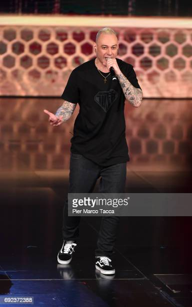 Fabri Fibra performs on stage during 'Che Tempo Che Fa' TV show on June 4 2017 in Milan Italy