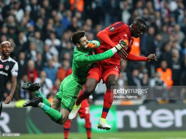 Fabri of Besiktas in action against Mouctar Diakhaby of Olympique Lyonnais during the UEFA Europa League quarter final second match between Besiktas...