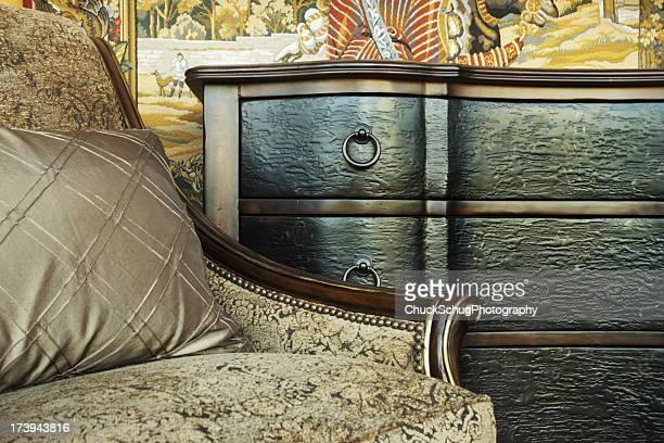 Decoração de tecido de Cadeira de Braços Mesa gaveta