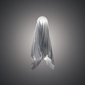 Fabric in shape resembling a ghost. 3d rendering