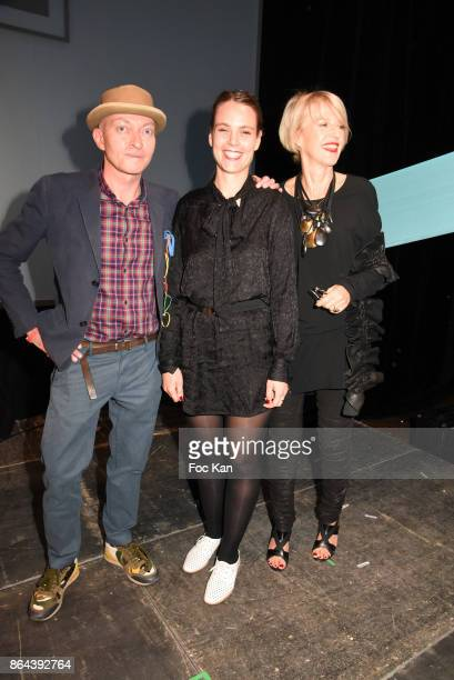 Fabrice Bousteau Ricad 2017 awarded Caroline Mesquita and Colette Barbier attend the 'Bal Jaune Elastique 2017' Dinner Party at Palais Brongniart on...
