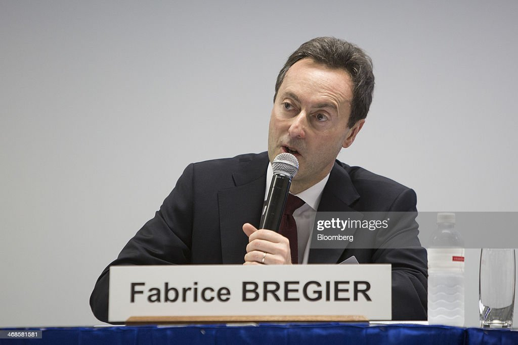 <a gi-track='captionPersonalityLinkClicked' href=/galleries/search?phrase=Fabrice+Bregier&family=editorial&specificpeople=2129650 ng-click='$event.stopPropagation()'>Fabrice Bregier</a>, chief executive officer and president of Airbus SAS, speaks during a news conference at the Singapore Airshow held at the Changi Exhibition Centre in Singapore, on Tuesday, Feb. 11, 2014. The air show takes place from Feb. 11-16. Photographer: Brent Lewin/Bloomberg via Getty Images