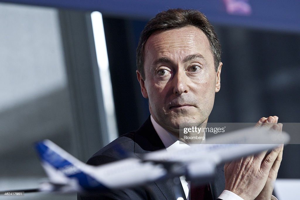 Fabrice Bregier, chief executive officer of Airbus SAS, reacts during the annual news conference at the company's headquarters in Toulouse, France, on Monday, Jan. 13, 2014. Airbus is exploring higher output of A320 single-aisle and A350 wide-body aircraft, following a similar move by Boeing Co. to help shorten the wait time for customers following its highest order intake ever last year. Photographer: Balint Porneczi/Bloomberg via Getty Images