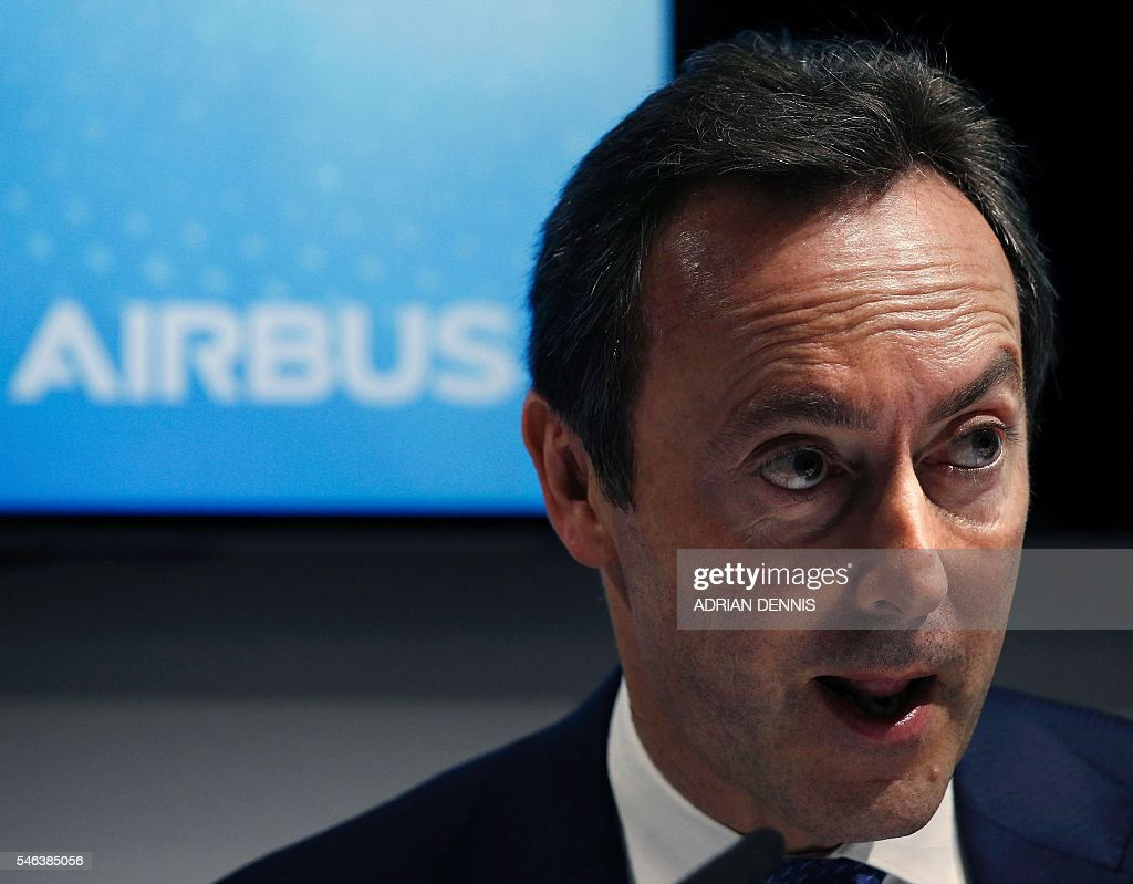 Fabrice Bregier President and CEO of Airbus is pictured as he and Karsten Balke CEO of Germania address a press conference at the Farnborough Airshow...