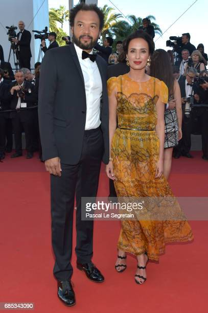 Fabrice Eboue and his wife Amelle Chahbi attend the 'Okja' screening during the 70th annual Cannes Film Festival at Palais des Festivals on May 19...