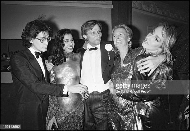 Fabrice Emaer director of the Palace night club Prince Nicolas Dadeshkeliani supermodel Kira Laurence Scherer and Jerry Hall attend a party at the...