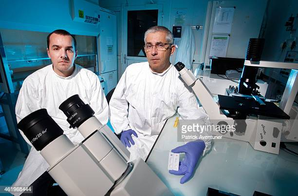 Fabrice Gallais virology researcher and Laurent Bellanger head of Laboratory at the Department of Biochemistry and Nuclear Toxicology CEA Marcoule...