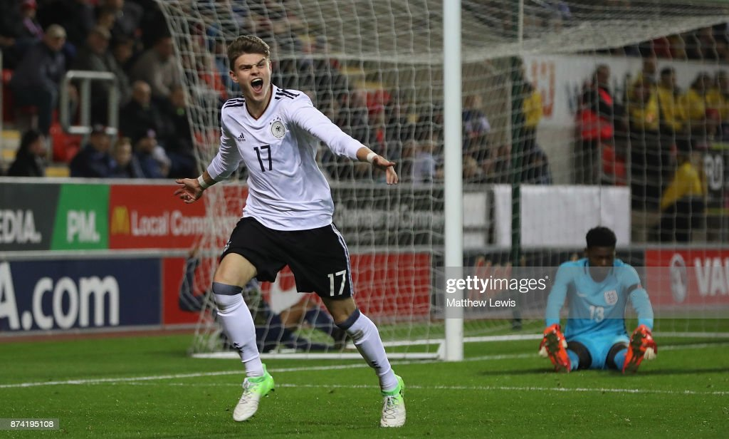 Fabrice Hartmann of Germany celebrates his goal during the International Match between England U17 and Germany U17 at The New York Stadium on November 14, 2017 in Rotherham, England.