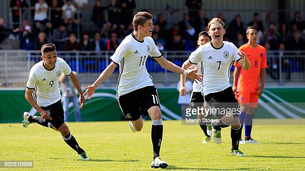 Fabrice Hartmann of U15 Germany celebrates his goal during the match between U15 Germany v U15 Netherlands at Hoheellern Stadion Leer on May 19 2016...
