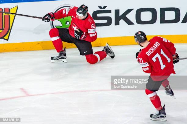Fabrice Herzog celebrates his goal with Tanner Richard during the Ice Hockey World Championship between Switzerland and Finland at AccorHotels Arena...