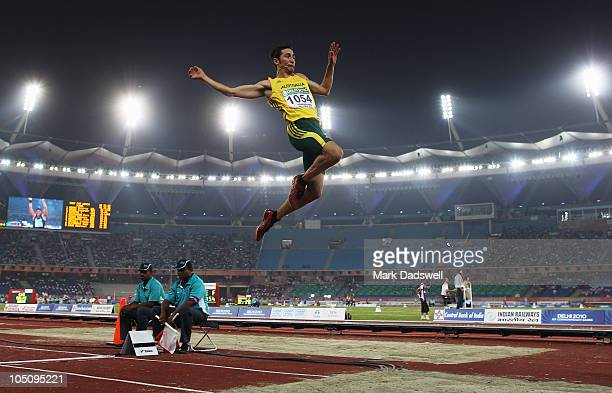 Fabrice Lapierre of Australia competes in the men's long jump final at Jawaharlal Nehru Stadium during day six of the Delhi 2010 Commonwealth Games...