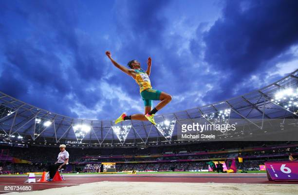 Fabrice Lapierre of Australia competes in the Men's Long Jump final during day two of the 16th IAAF World Athletics Championships London 2017 at The...