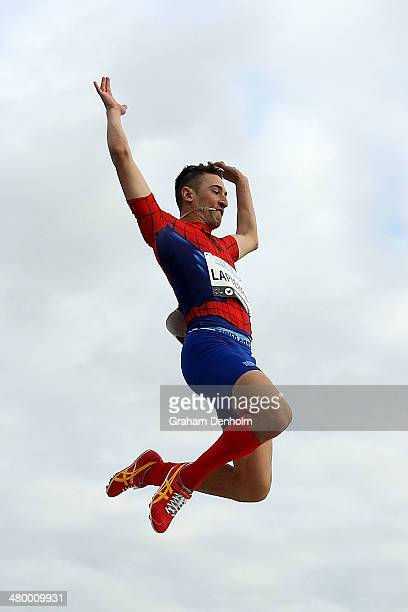 Fabrice Lapierre of Australia competes in the Men's long jump open during the IAAF Melbourne World Challenge at Olympic Park on March 22 2014 in...