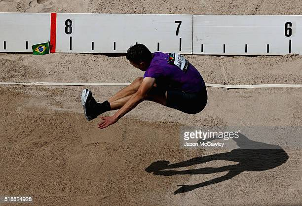 Fabrice Lapierre of New South Wales competes in the mens long jump during the Australian Athletics Championships at Sydney Olympic Park on April 3...