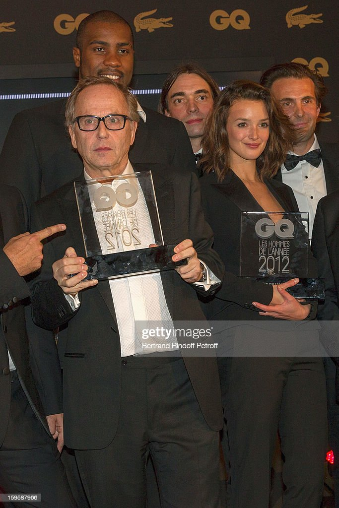 Fabrice Luchini, Teddy Riner (behind Luchini), Cedric Villlani, Charlotte Le Bon and Yannick Bollore attend the GQ Men of the year awards 2012 at Musee d'Orsay on January 16, 2013 in Paris, France.