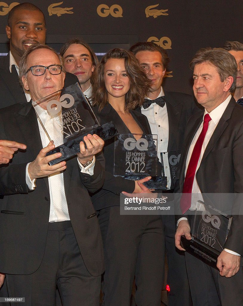 Fabrice Luchini, Teddy Riner (behind Luchini), Cedric Villlani, Charlotte Le Bon, Yannick Bollore (Behind Le Bon) and Jean-Luc Melenchon attend the GQ Men of the year awards 2012 at Musee d'Orsay on January 16, 2013 in Paris, France.
