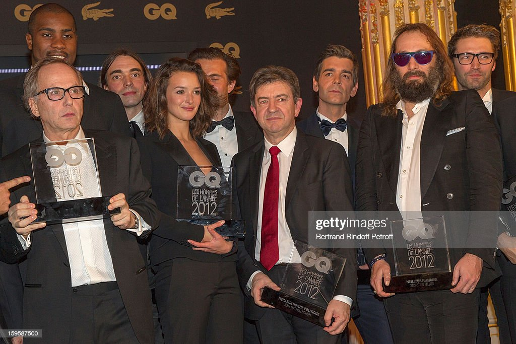 Fabrice Luchini, Teddy Riner (behind Luchini), Cedric Villlani, Charlotte Le Bon, Yannick Bollore (Behind Le Bon), Jean-Luc Melenchon, Xavier de Moulins, Sebastien Tellier and Noe Duchaufou-Lawrence attend the GQ Men of the year awards 2012 at Musee d'Orsay on January 16, 2013 in Paris, France.