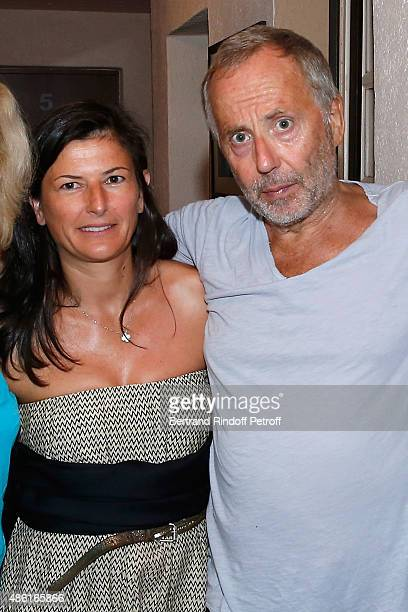 Fabrice Luchini with his companion Emmanuelle pose Backstage after the 'Fabrice Luchini Poesie ' show during the 31th Ramatuelle Festival Day 10 on...