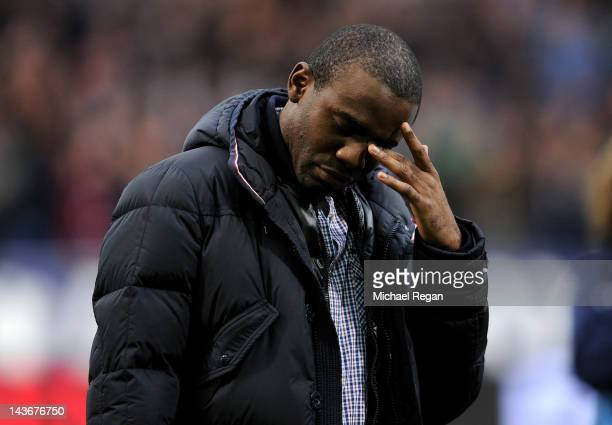 Fabrice Muamba of Bolton Wanderers shows his emotion after being introduced to the crowd prior to the Barclays Premier League match between Bolton...