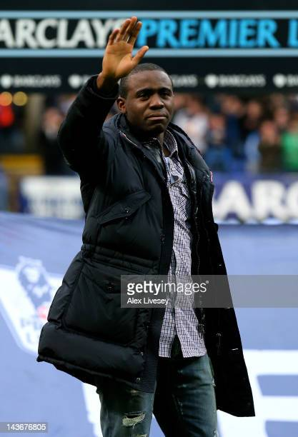 Fabrice Muamba of Bolton Wanderers waves to the crowd prior to the Barclays Premier League match between Bolton Wanderers and Tottenham Hotspur at...