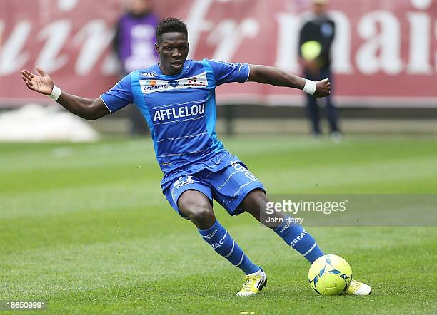 Fabrice Nsakala of Troyes in action during the Ligue 1 match between ES Troyes Aube Champagne ESTAC and Paris SaintGermain FC PSG at the Stade de...