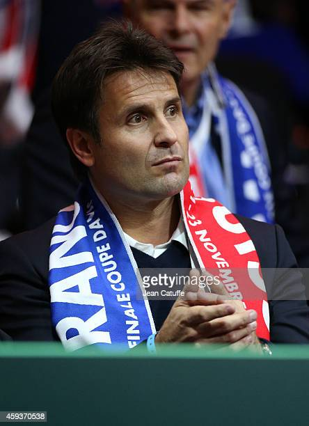 Fabrice Santoro attends day one of the Davis Cup tennis final between France and Switzerland at the Grand Stade Pierre Mauroy on November 21 2014 in...
